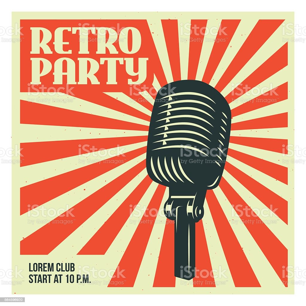Retro party poster template with old microphone. Vector vintage illustration. vector art illustration