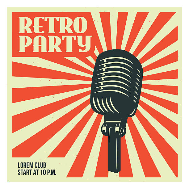 Retro party poster template with old microphone. Vector vintage illustration. Retro party advertising with old microphone. Old school poster design. Vector vintage illustration. radio dj stock illustrations