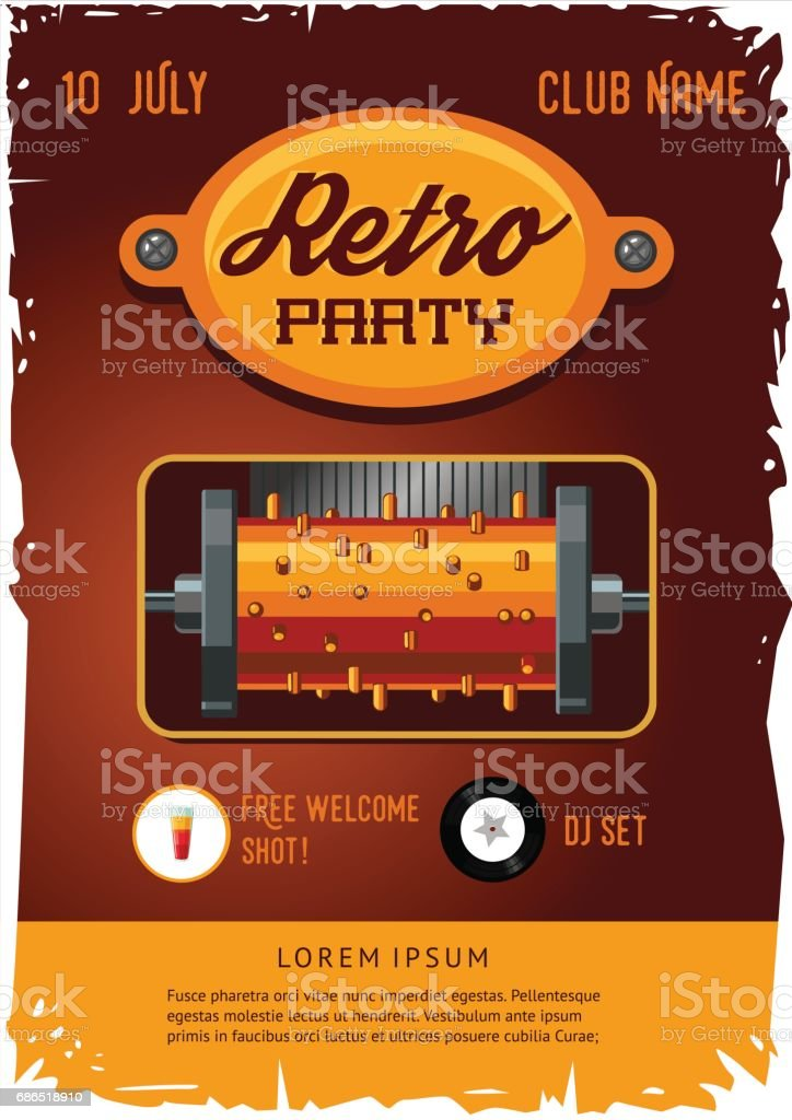 retro party poster template with vintage clockwork music box