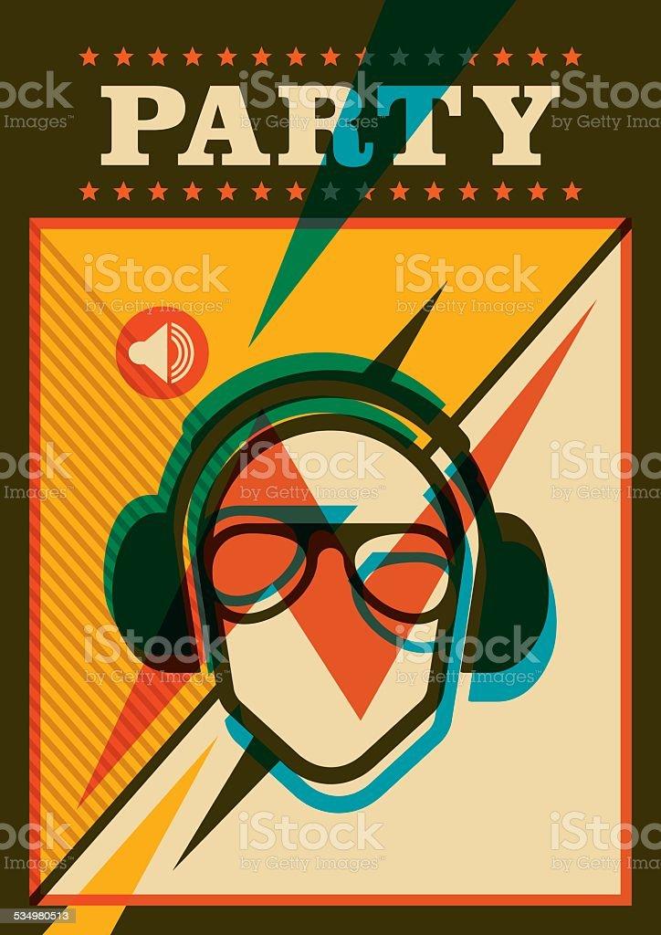 Retro party poster. vector art illustration