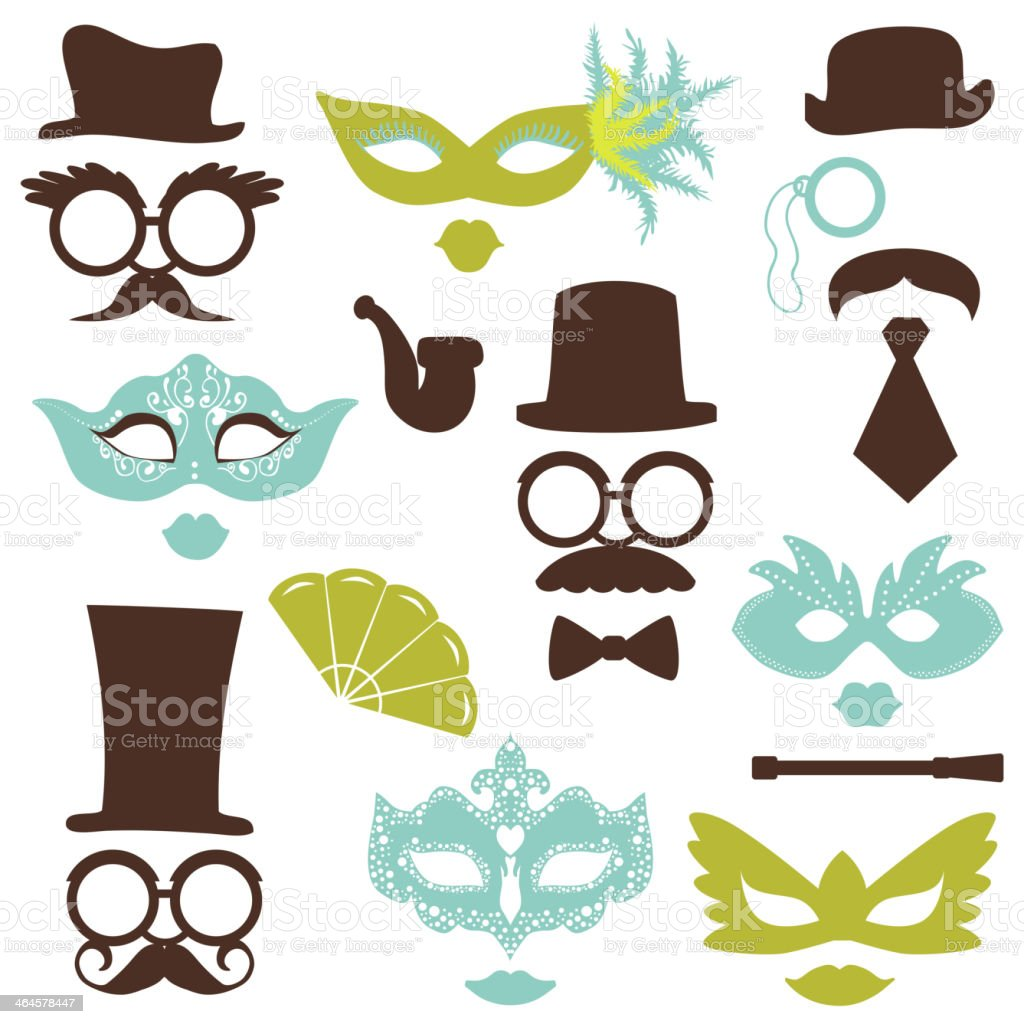 Retro Party set - Glasses, hats, lips, mustaches, masks vector art illustration