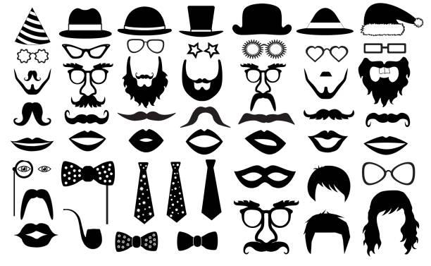 retro-party-reihe. brillen, hüte, lippen, schnurrbärte, krawatte, bart, monokel, symbole. vektor-illustration-silhouette - mann bart freisteller stock-grafiken, -clipart, -cartoons und -symbole