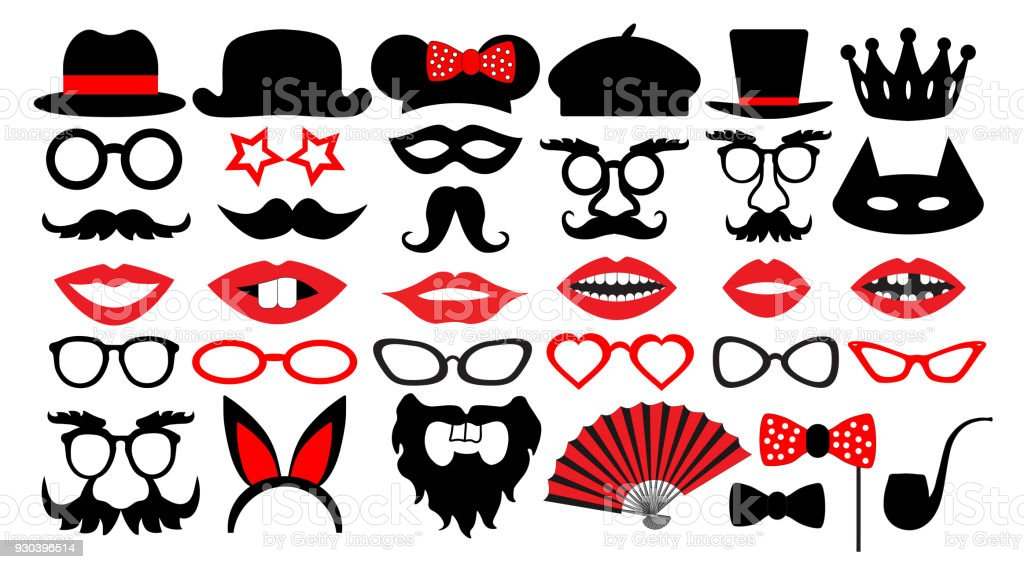 Retro Party Set Party Birthday Photo Booth Props Glasses Hats Lips