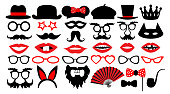 Retro party set. Party birthday photo booth props. Glasses, hats, lips, mustaches, tie, monocle, icons. vector illustration