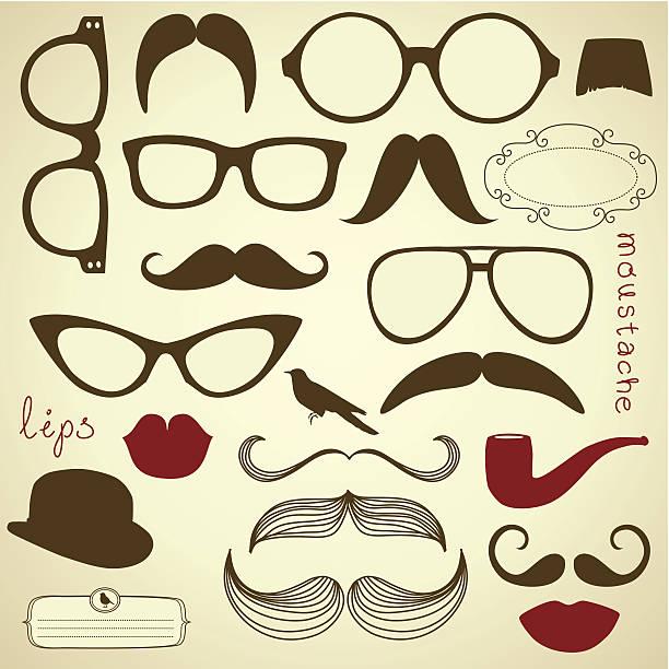 Retro Party set - Sunglasses, lips, moustaches vector art illustration