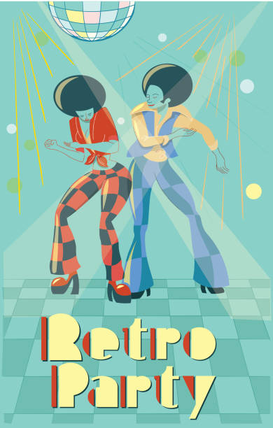 Retro Party Couple Dancing, retro illustration with a simple style. Easy color change bilar stock illustrations