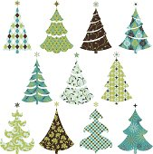 a set of Christmas tree symbol with elegant patterns