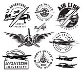 retro pattern set of planes, badges, design elements