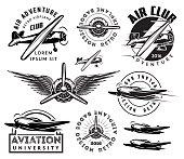retro pattern set of planes, badges, design elements
