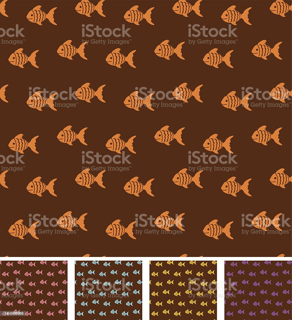 Retro pattern with fishies royalty-free stock vector art