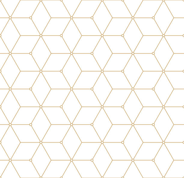 Retro Pattern with Golden Squares. Vector seamless outline background vector art illustration
