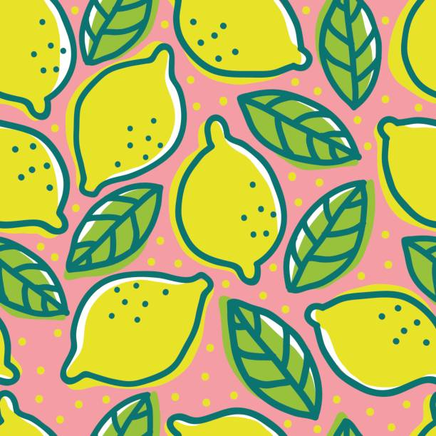 Retro pattern with lemons. Vector vintage seamless pattern with lemons and leafs. Retro pattern with lemons. lemon fruit stock illustrations