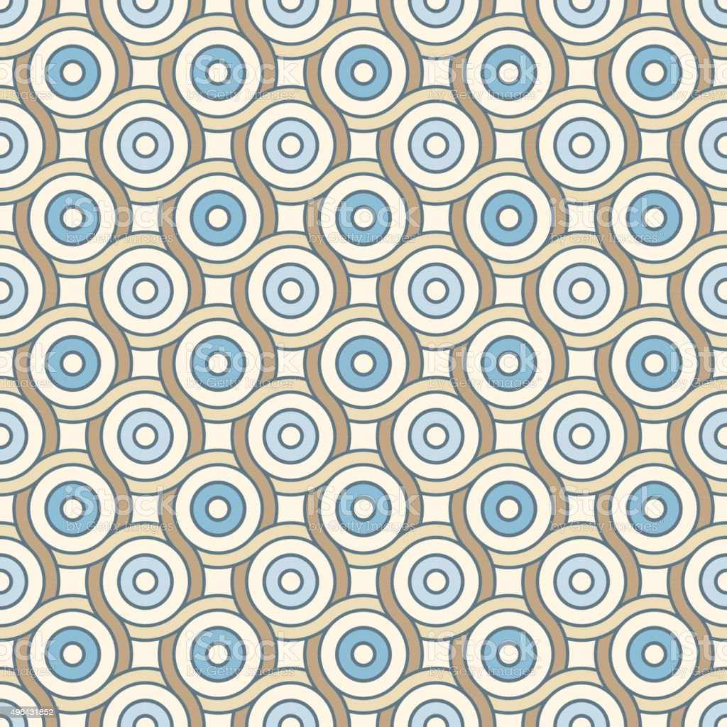 Retro pattern with lines and circles vector art illustration