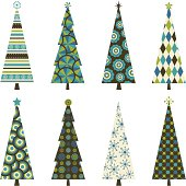Eight Christmas trees with funky retro patterns