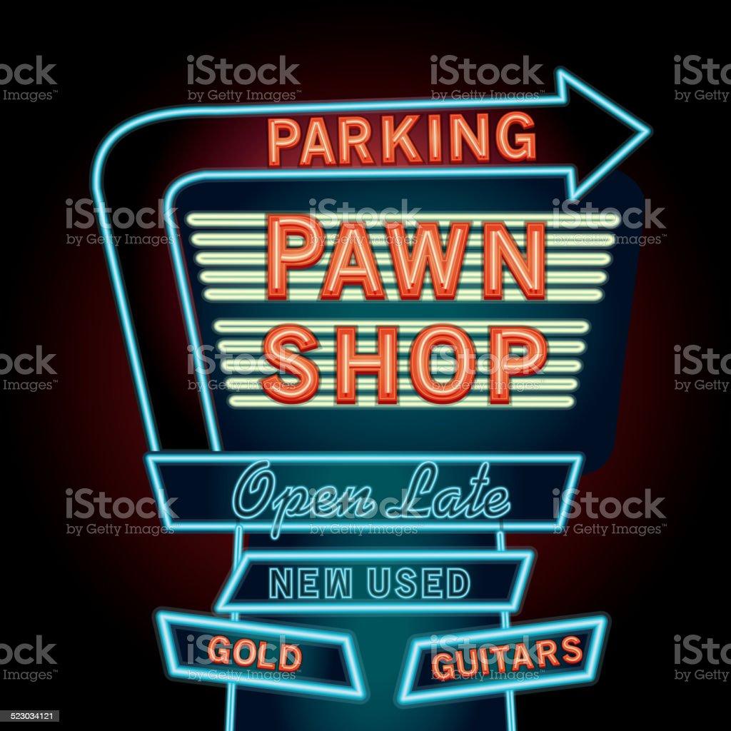 Retro Pawn shop neon sign vector art illustration