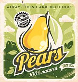 Retro pear poster design. Vintage sign for farm fresh food. Yellow fruit on old paper texture. Promotional ad layout concept.