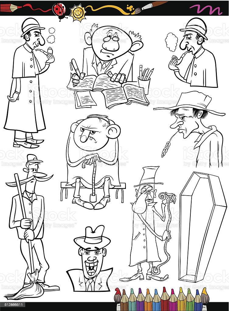Ilustración de Retro Personas De Historieta Página Para Colorear De ...