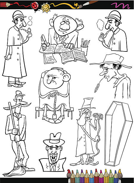 retro people set cartoon coloring page - old man smoking pipe cartoons stock illustrations, clip art, cartoons, & icons