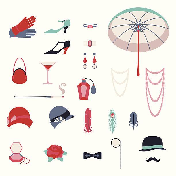 retro persönliche accessoires, symbole und objekte der 1920 er jahre stil. - glasohrringe stock-grafiken, -clipart, -cartoons und -symbole