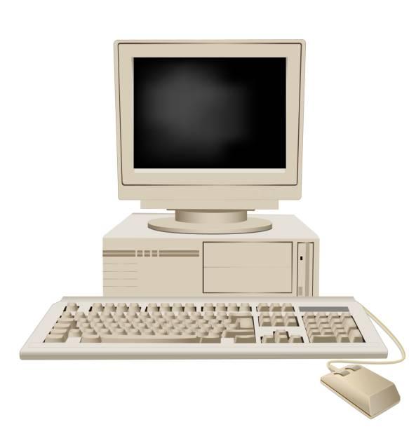 illustrazioni stock, clip art, cartoni animati e icone di tendenza di personal computer retrò con unità di sistema grande monitor tastiera e mouse vettoriale illustrazione grafica - antico vecchio stile