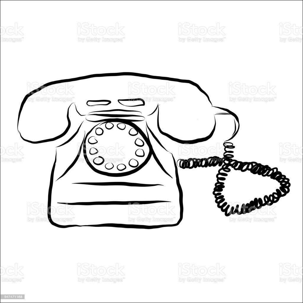 retro phone doodle stock vector art more images of antique Cartoon Phone retro phone doodle illustration
