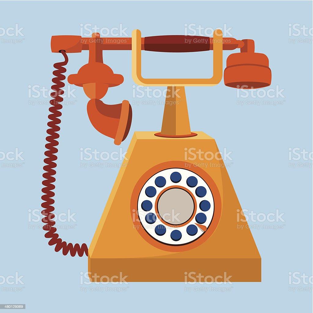 Retro phone  flat illustration vector art illustration
