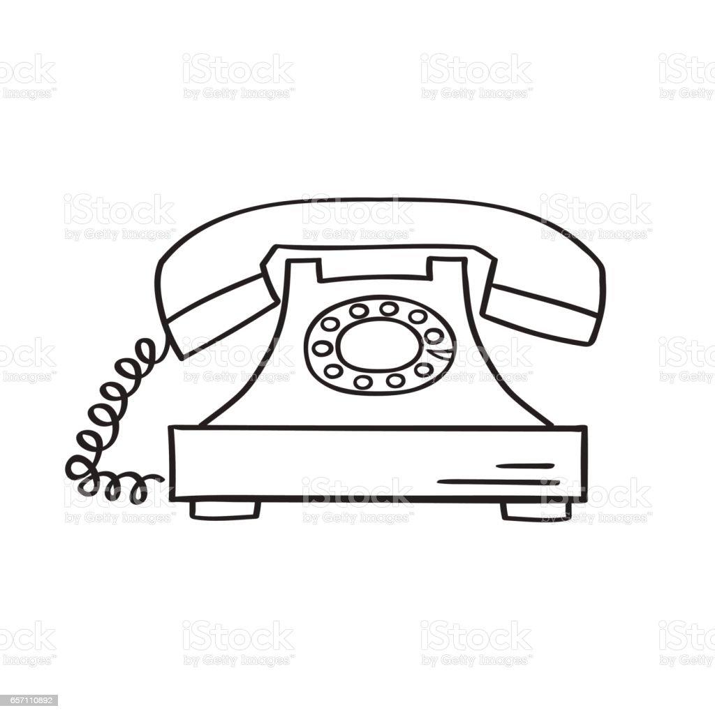 Retro phone hand drawn, vector illustration vector art illustration