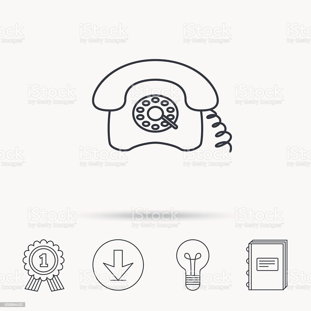 Retro Phone Icon Old Telephone Sign Stock Vector Art & More