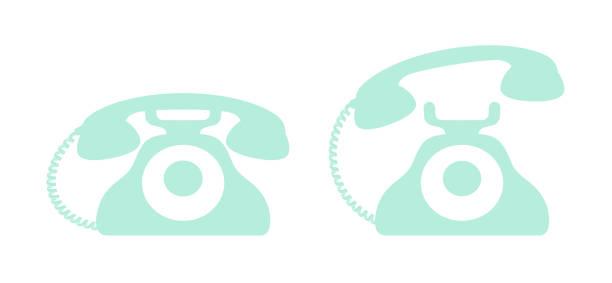 レトロな電話のアイコン セット ベクターイラスト ベクターアートイラスト