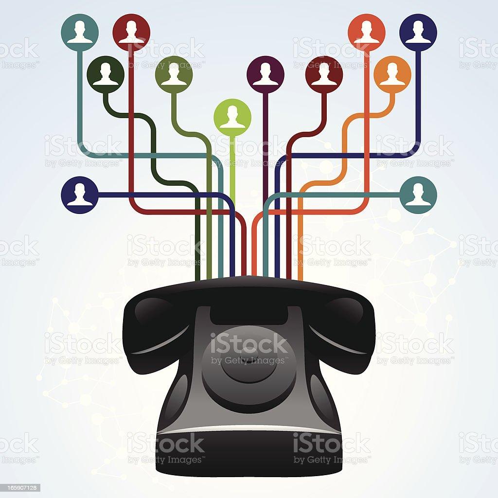 Retro phone network vector art illustration