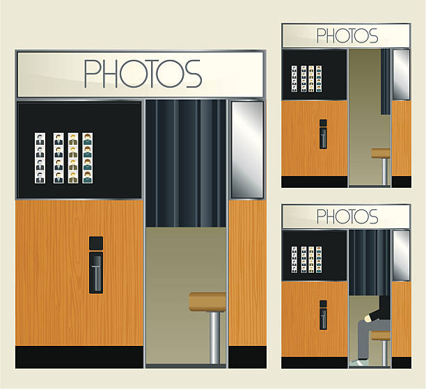 stockillustraties, clipart, cartoons en iconen met retro photo booth - photography curtains