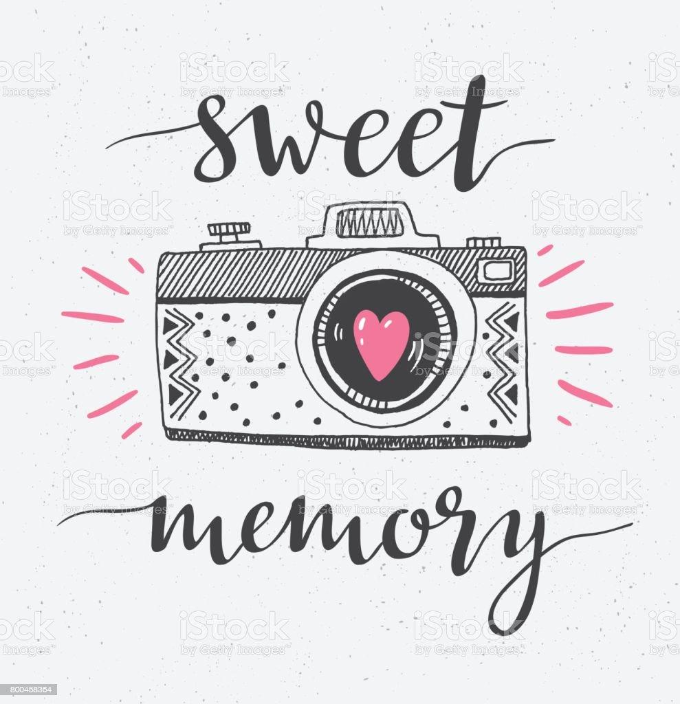 Retrofotokamera Mit Stilvollen Schriftzug Süße Erinnerung Vektor