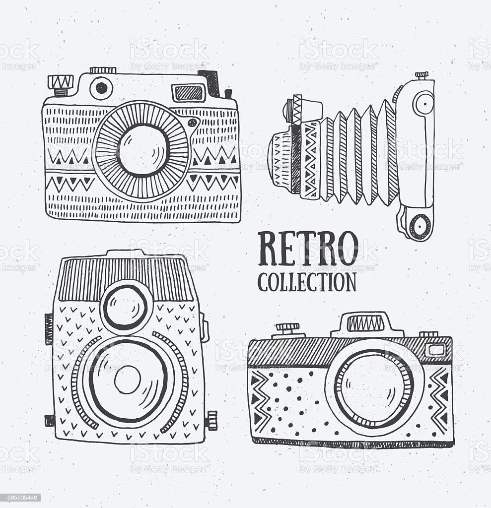 Retro photo cameras set. Vector illustration. vector art illustration