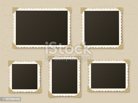 Retro photo frames. Vintage paper picture frame template for nostalgia scrapbook. Retro photos borders in album corners, vector layout, stylish concept framing isolated foto set