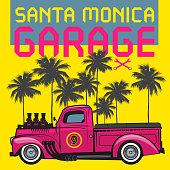Retro pickup truck poster