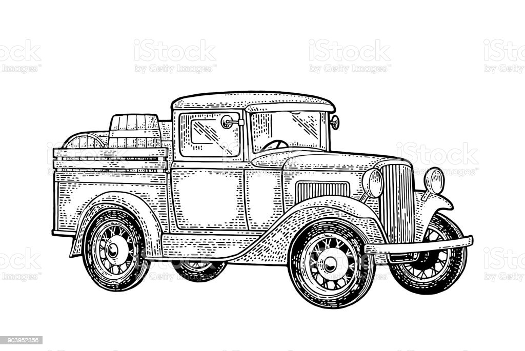 Retro Pickup Truck With Wood Barrel Side View Vintage Black Engraving Royalty Free