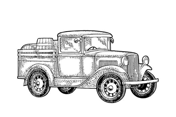 나무 배럴 레트로 픽업 트럭입니다. 사이드 뷰입니다. 빈티지 블랙 조각 - prohibition stock illustrations