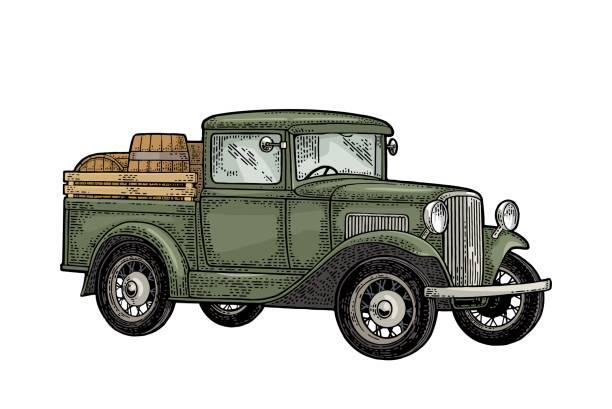 나무 배럴 레트로 픽업 트럭입니다. 사이드 뷰입니다. 빈티지 컬러 조각 - prohibition stock illustrations
