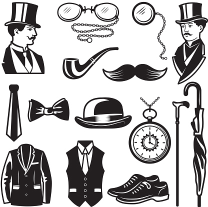 Retro pictures in victorian style. Illustrations for gentleman club labels