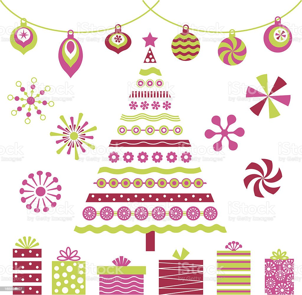 Retro Pink Christmas Tree and Design Elements Fun Christmas design elements Box - Container stock vector