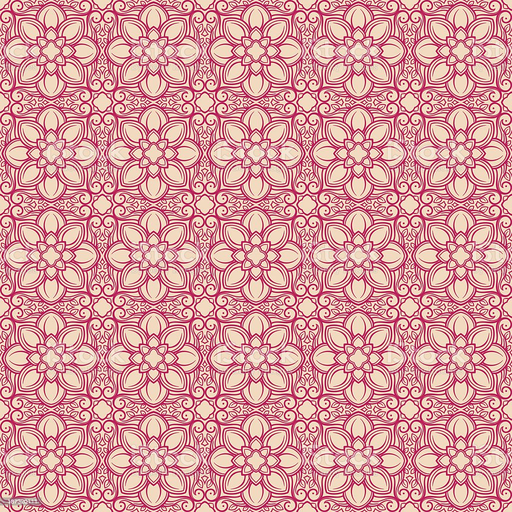 retro pink flowers on a beige background royalty-free stock vector art