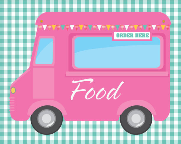 Retro Pink Food Truck With Text Design On Checkered Background Vector Art Illustration