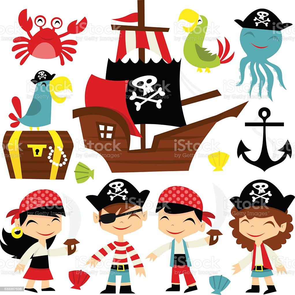Retro Pirate Adventure Set vector art illustration
