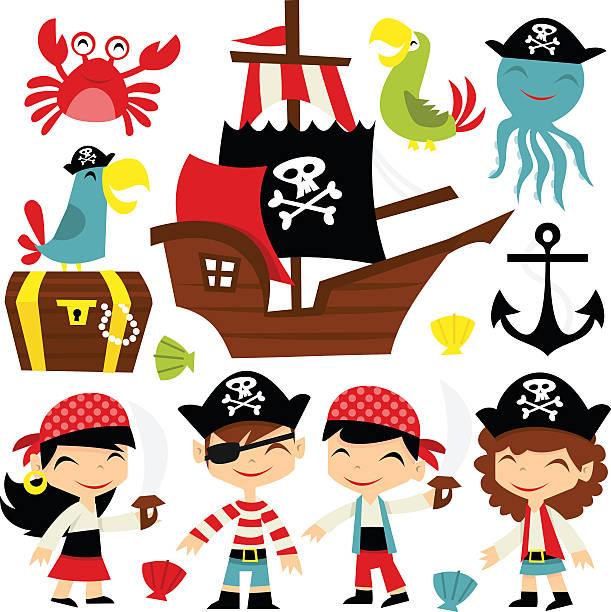 retro pirate adventure set - pirates stock illustrations, clip art, cartoons, & icons
