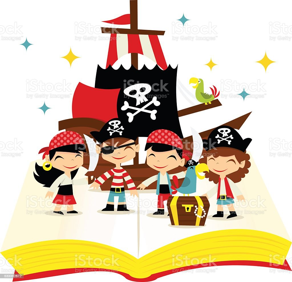 Retro Pirate Adventure Story Book Stock Vector Art & More ...