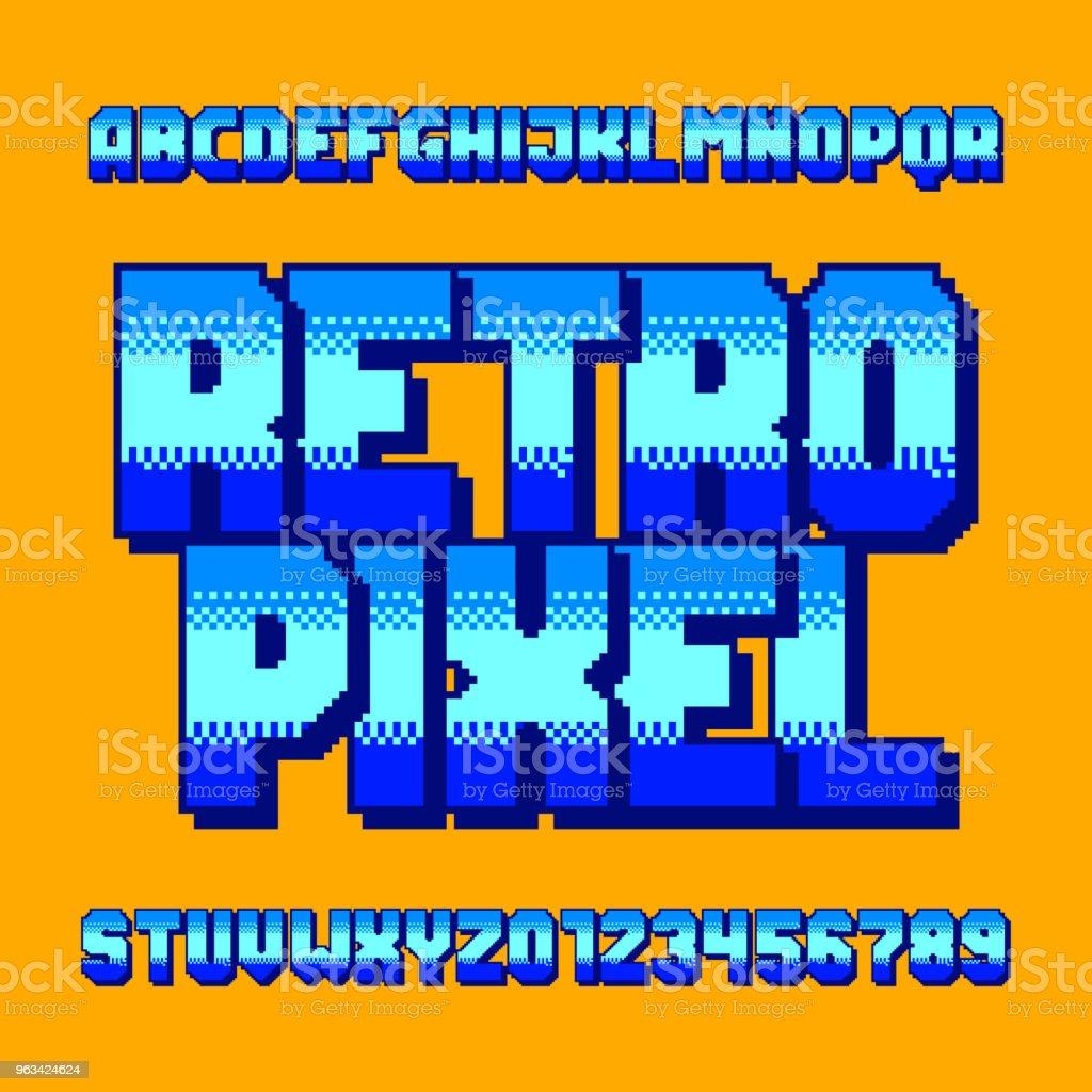 Police de pixel rétro d'alphabet. Numéros et lettres gradient numérique. - clipart vectoriel de 1980-1989 libre de droits