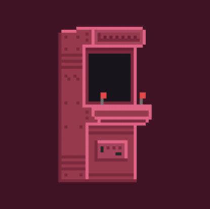 Retro pixel art 8 bit arcade cabinet machine vector