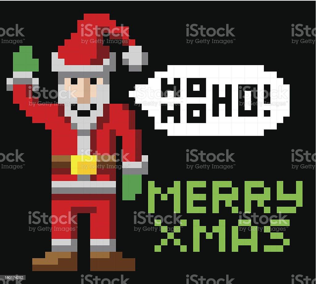 Retro pixel art Christmas Santa vector art illustration