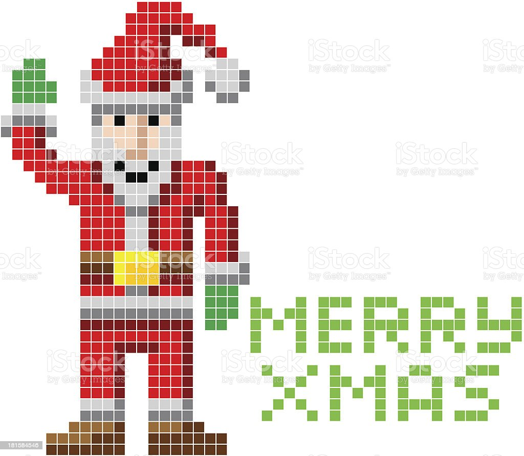 Retro pixel art Christmas Santa royalty-free stock vector art