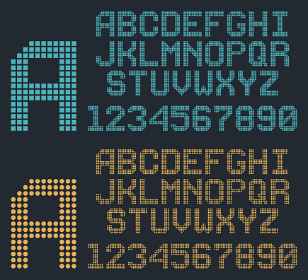 retro pixel font, rounded alphabet and numbers